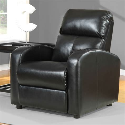 tracy black bonded leather recliner overstock shopping