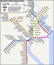 proposed map of a washington baltimore regional rail syste