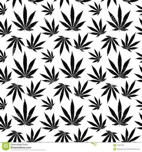 black and white weed wallpaper vector seamless pattern of cannabis leaf stock vector