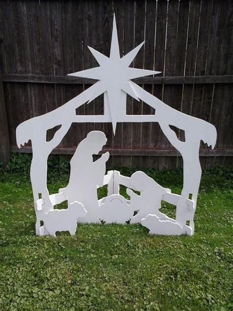 christmas outdoor nativity scene outdoor wood yard art lawn