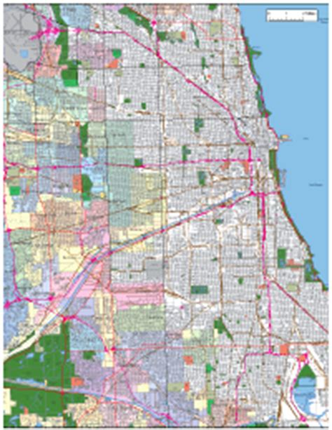 chicago highway names map chicago digital vector maps editable