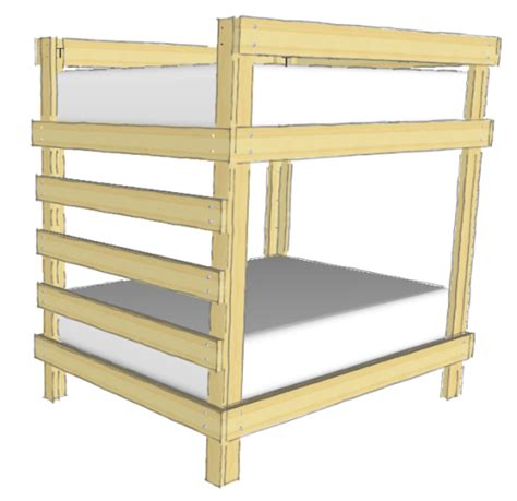 wooden loft bed full size diy full over full bunk bed cabin pinterest bunk bed