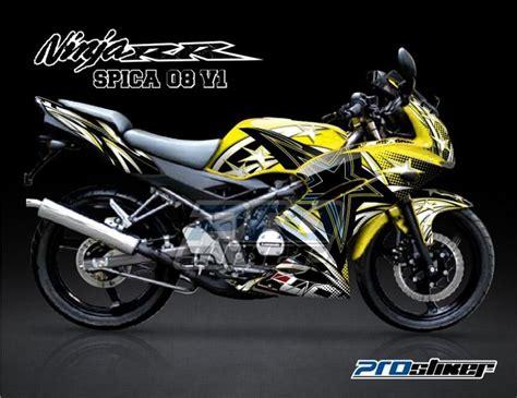 stiker motor kawasaki 150 rr kuning spica 08 v1 modifikasi rr new 150 cc