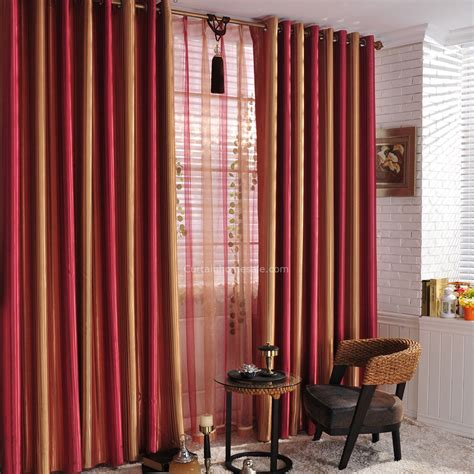 window curtains for bedroom red sunset scenery striped colored living room blackout window curtains