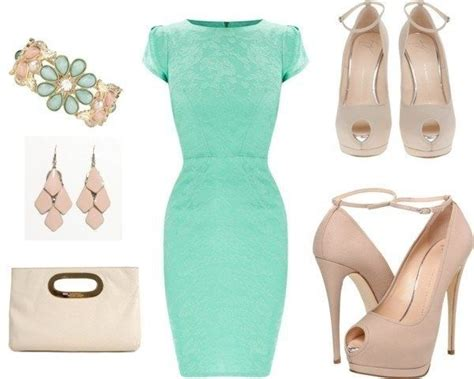 mint dress beige shoes and accessories yes