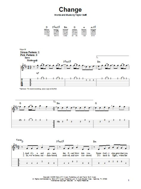 change taylor swift guitar tabs change by taylor swift easy guitar tab guitar instructor