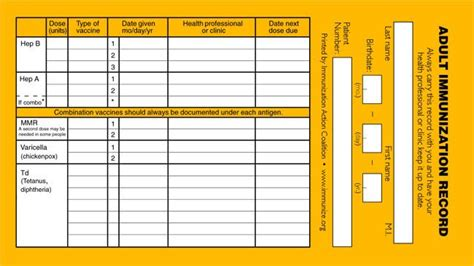immunization record card template immunization record templates and sles