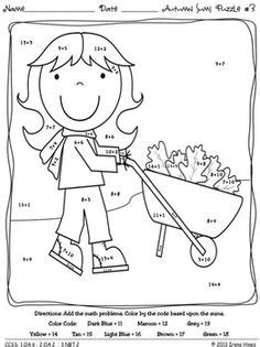 autumn math coloring pages summer sums math printables color by the code puzzles