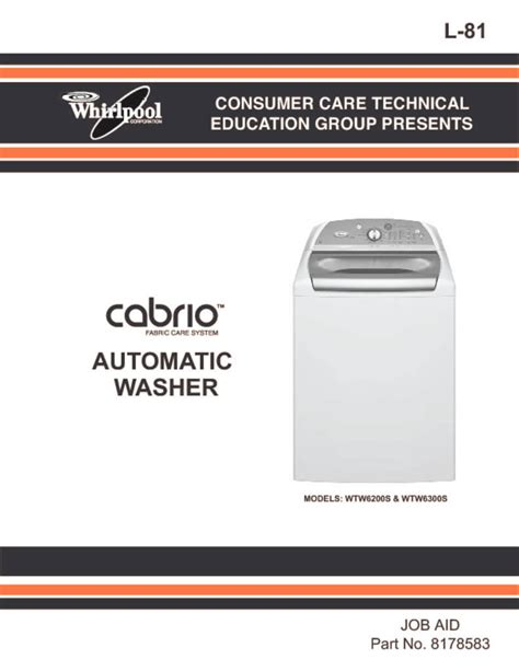 parts for whirlpool cabrio washer whirlpool cabrio washer repair manual