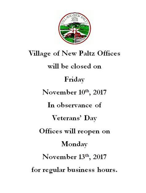 Are Post Offices Closed On Veterans Day by Offices Closed 11 10 For Veterans Day Of New Paltz