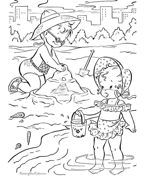 kid page to color of the beach