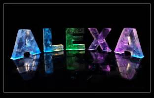 the name alexa in 3d coloured lights
