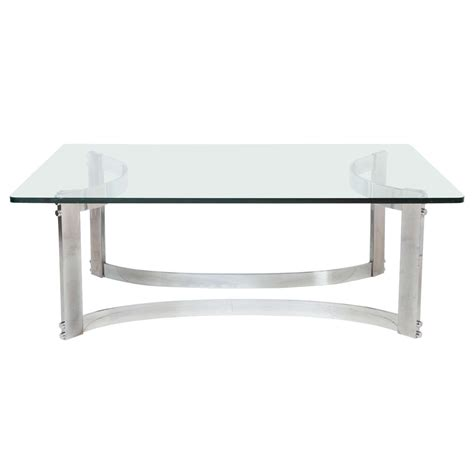 Glass Curved Coffee Table Rectangular Coffee Table With Glass Top And Curved Chrome Base At 1stdibs