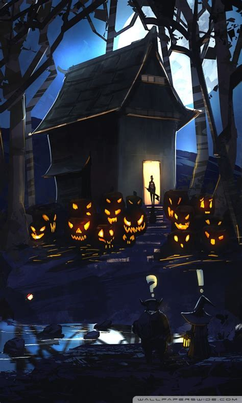halloween drawing ultra hd desktop background wallpaper