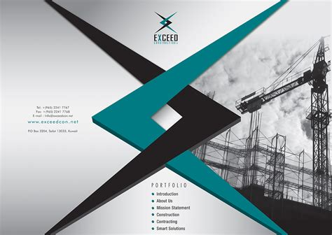 company profile unique design elegant modern graphic design for exceed construction