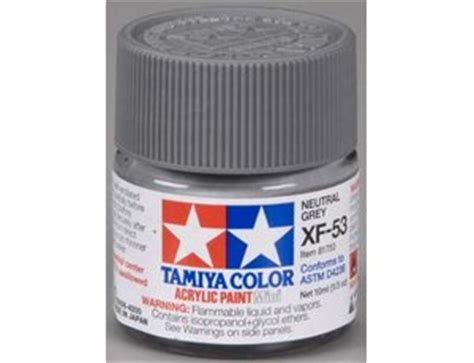 Tamiya Xf 53 Neutral Grey Enamel Paint 10ml tamiya mini xf 53 flat neutral grey 10ml acrylic paint 81753 163 1 58