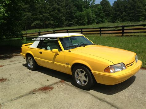 1993 ford mustang lx 5 0 yellow convertible