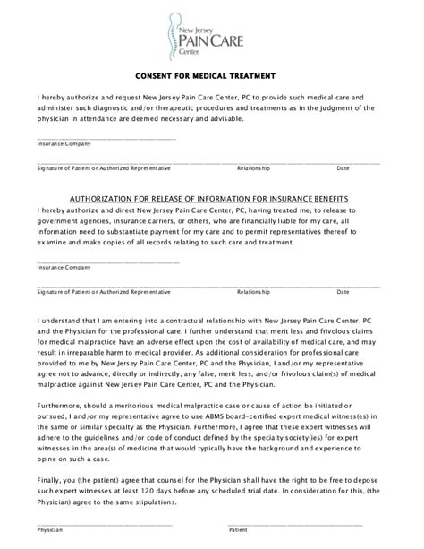 New Jersey Pain Care Center Patient Consent Form Informed Consent Form For Treatment Template