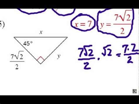 solved what is the correct how to solve special right triangles problem set 1 youtube