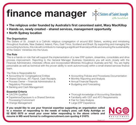 Finance Manager Application Letter Ngo Recruitment Finance Manager And Administration Ngo Recruitment