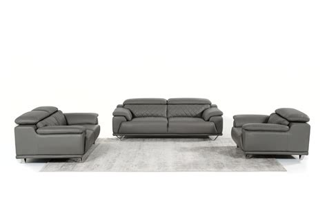 Grey Leather Sofa Set Divani Casa Wolford Modern Grey Leather Sofa Set