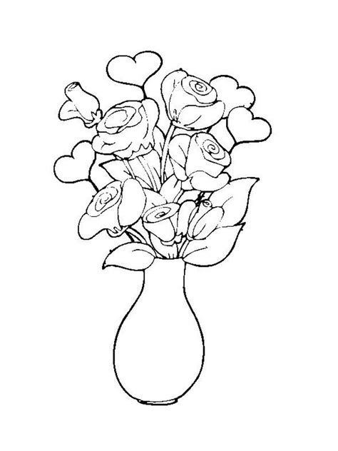 Flower Bouquet Coloring Pages Coloring Home Bouquet Roses Coloring Pages