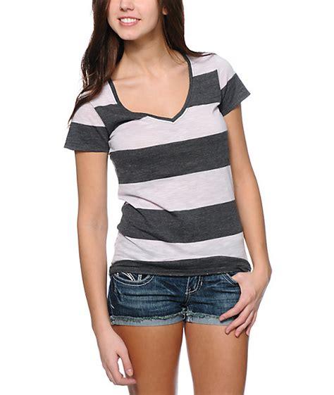 Stripe V Blouse 40265 zine lavender charcoal rugby stripe v neck t shirt