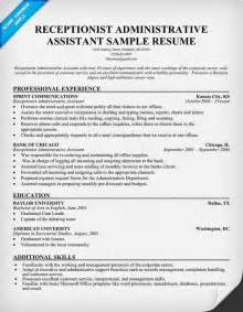 Receptionist Administrator Sle Resume by Sle Resume Receptionist Administrative Assistant Sle Resume Receptionist Administrative