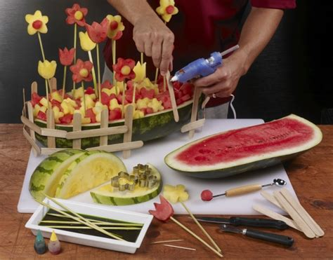 carve  watermelon flower garden centerpiece