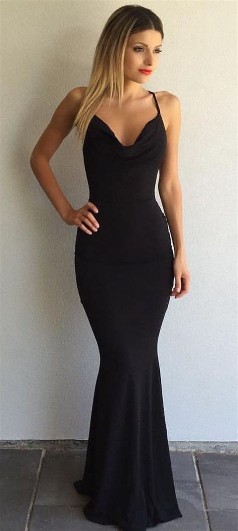 Vacia Simply Black S M Dress simple black prom dresses crisscross back mermaid