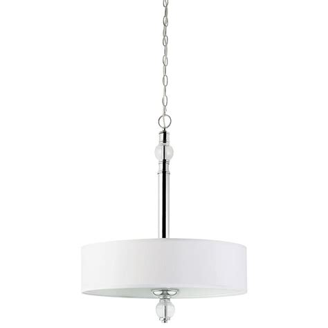 Drum Shaped Pendant Lights Globe Electric 3 Light Chrome Drum Shaped Pendant With White Fabric Shades And Chrystal