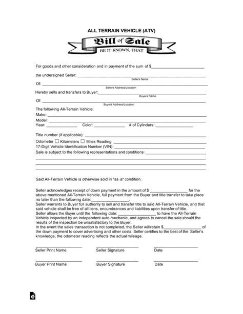 Atv Bill Of Sale Template Invoice Design Inspiration Atv Bill Of Sale Template