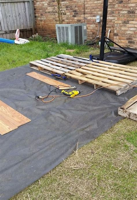 diy backyard basketball court diy pallet basketball court hometalk