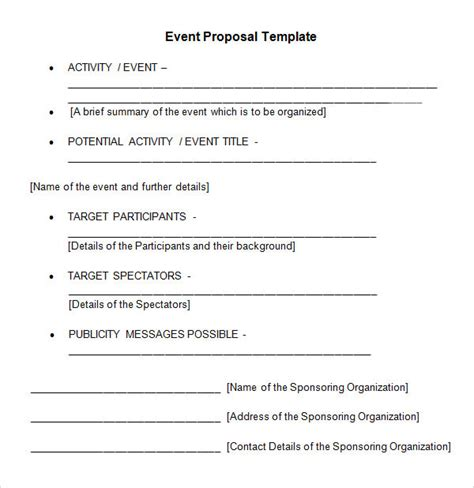 format of proposal for event sle event proposal template 15 free documents in pdf