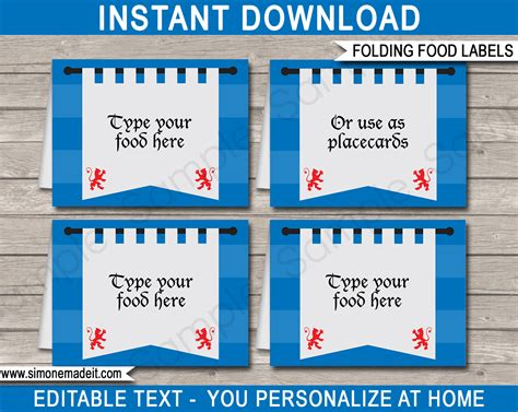 free template for labels for cards western printable food labels place cards