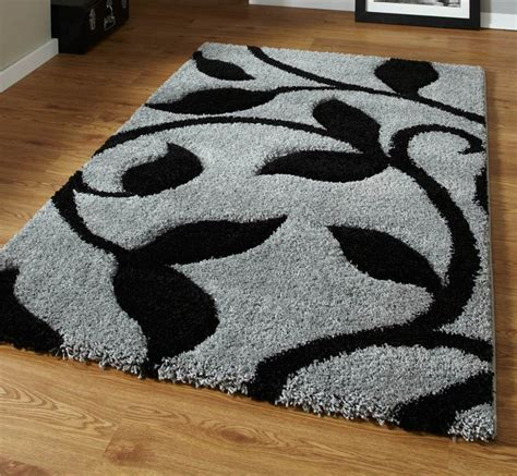 thick pile shaggy rug grey and black high density thick pile carved shaggy rug