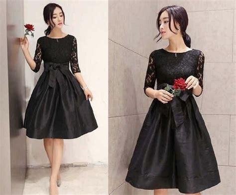 Dress Pesta Mini Lace Black Hitam Import M Limited 1 jual beli 544d dress gaun mini pesta brukat brokat