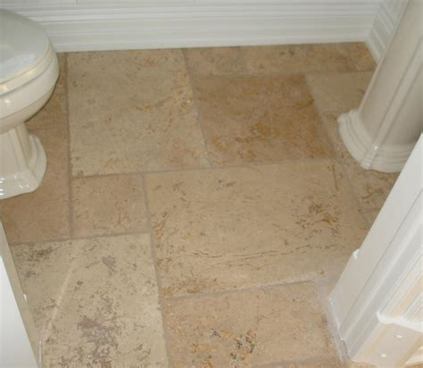 Bathroom Tile Feature Ideas by Powder Room Tumbled Marble Floor New Jersey Custom Tile