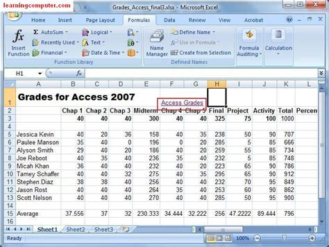 Mat Excel by Microsoft Excel Formulas Tab Tutorial Learn Ms Excel 2007 It Computer