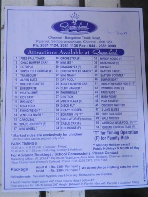 theme park list of list of rides in queens land theme park chennai veethi