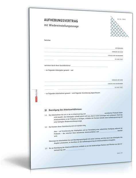 Vorlage Arbeitsvertrag Kündigen Arbeitnehmer Probezeitverl 228 Ngerung Durch Aufhebungsvertrag Muster Downloaden