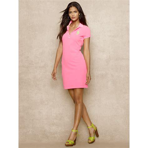 Naira Dress Pink St lyst ralph blue label big pony polo dress in pink