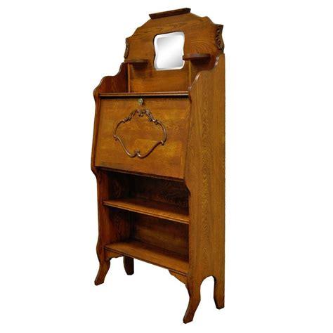 Antique Victorian Carved Oak Drop Fall Front Secretary Antique Oak Desk With Bookcase