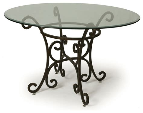 Traditional Glass Dining Table Pastel Verdugo Glass Top Dining Table In Autumn Rust Traditional Dining Tables By