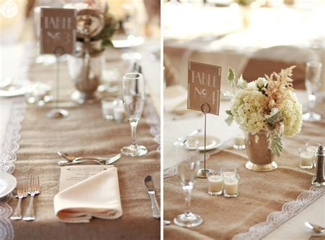 wedding centerpieces with lace and burlapwedwebtalks
