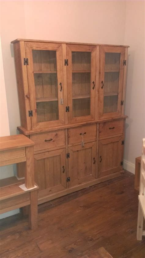 Waxed Pine Dresser by Waxed Pine Dresser With Glass Doors