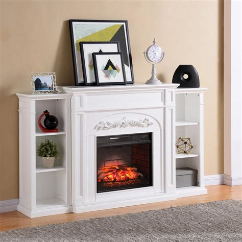 Southern Enterprises Binghamton 72 5 In W Bookcase White Electric Fireplace With Bookcase