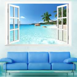 huge removable beach sea 3d window scenery wall sticker fairy beach hut wall sticker set contemporary wall stickers