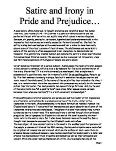 Pride And Prejudice Essay by Satire And Irony In Pride And Prejudice Gcse Marked By Teachers