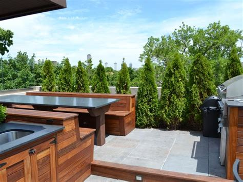 outdoor kitchen countertops pictures ideas from hgtv hgtv contemporary urban rooftop kitchen and dining area hgtv